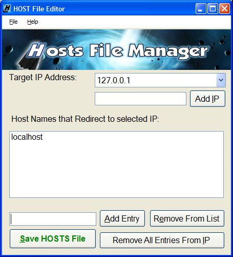 Hosts Manager GUI Screenshot